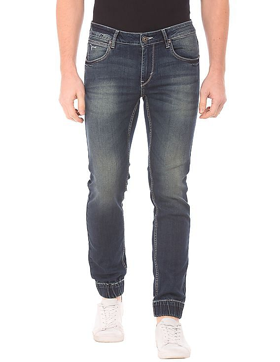 flying machine men mid rise stone wash jogger jeans