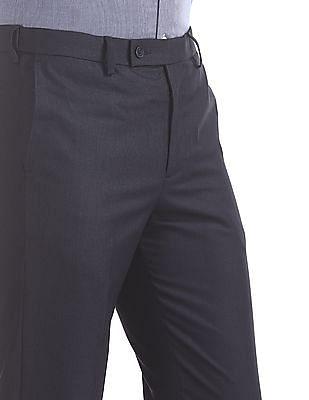 Arrow Blue Mid Waist Patterned Trousers