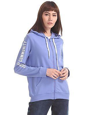 Flying Machine Women Purple Hooded Printed Sleeve Sweatshirt