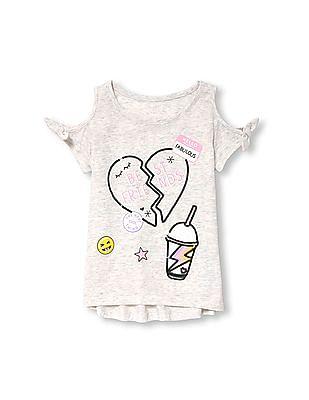 af622beba5f6e The Children s Place Girls Short Tie Sleeve Cold-Shoulder Embellished  Graphic Top