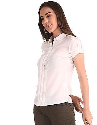 Cherokee White Solid Pintuck Shirt