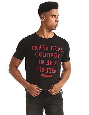 Flying Machine Black Crew Neck Printed T-Shirt