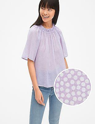 GAP Short Sleeve Print Ruffle Neck Blouse