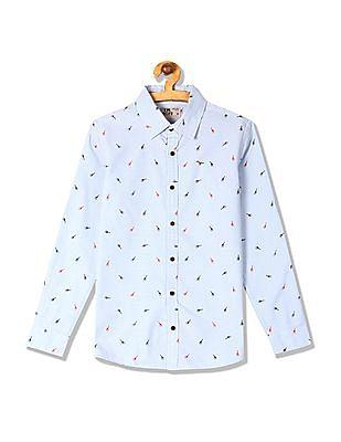 FM Boys Boys Long Sleeve Printed Shirt