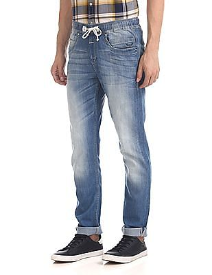 Flying Machine Drawstring Waist Washed Jeans