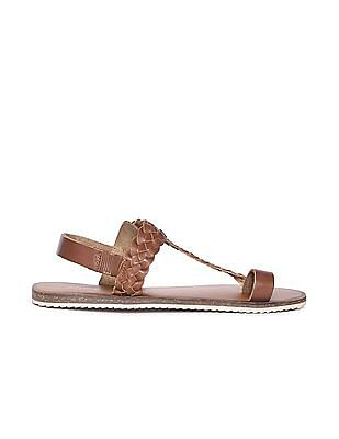 Arrow Braided Strap Leather Sandals