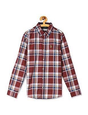 U.S. Polo Assn. Kids Boys Button Down Collar Check Shirt
