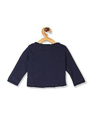 Cherokee Blue Girls Lace Tip Knit Shrug