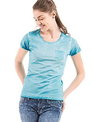 Flying Machine Women Regular Fit Dyed T-Shirt