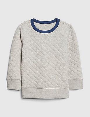 GAP Baby Grey Quilted Crewneck Sweatshirt