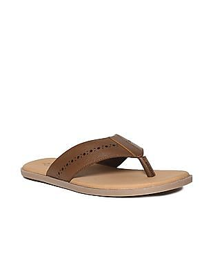 Arrow Brown Perforated V-Strap Leather Sandals