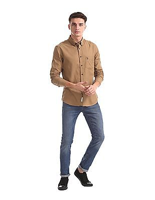 U.S. Polo Assn. Brown Button Down Collar Solid Shirt