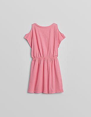 GAP Girls Pink Glitter Cold Shoulder Dress