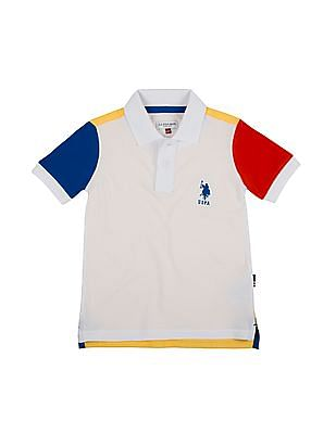 U.S. Polo Assn. Kids Boys Colour Block Regular Fit Polo Shirt