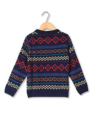 Cherokee Boys Round Neck Patterned Knit Sweater
