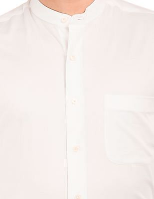 Arrow Mandarin Collar French Placket Shirt