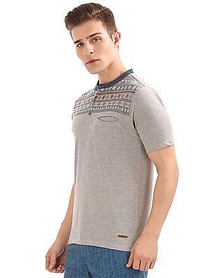 Cherokee Printed Yoke Henley T-Shirt