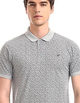 Ruggers Grey Printed Cotton Polo Shirt