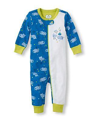 The Children's Place Baby Full Sleeve Elephant Print Bodysuit