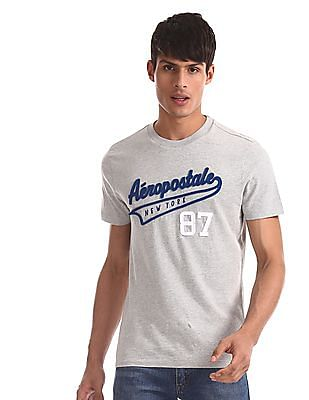 Aeropostale Grey Brand Applique Cotton T-Shirt