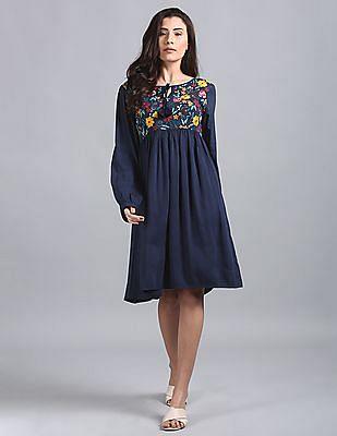 GAP Embroidered Yoke Exaggerated Sleeves Empire Waist Dress