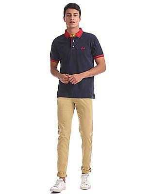 Izod Contrast Neck Pique Polo Shirt