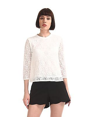 SUGR White Band Neck Lace Top