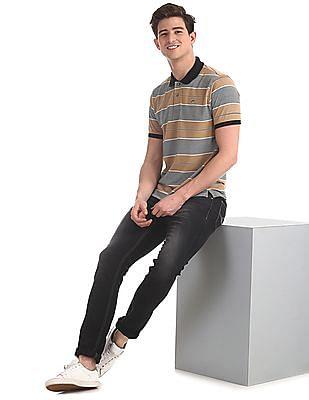 Ruggers Beige Regular Fit Striped Polo Shirt