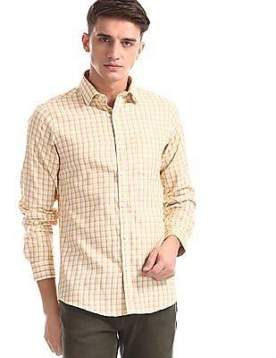 Excalibur Yellow Slim Fit Check Shirt