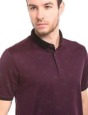 True Blue Printed Button Down Polo Shirt