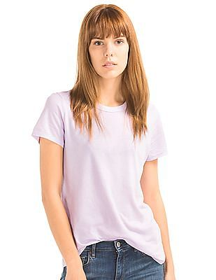 GAP Women Purple Vintage Wash Sueded Crew Neck Tee