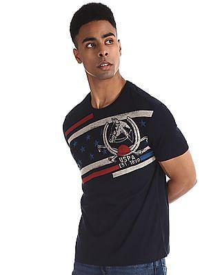 U.S. Polo Assn. Denim Co. Blue Printed Cotton T-Shirt