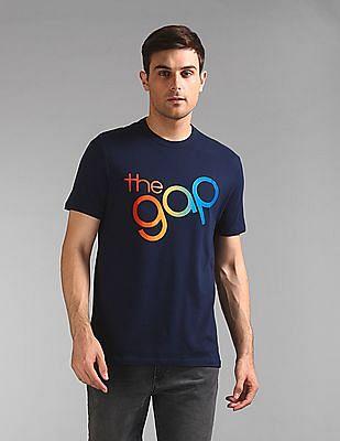 GAP Men Blue Gap Pride Logo Crewneck T-Shirt