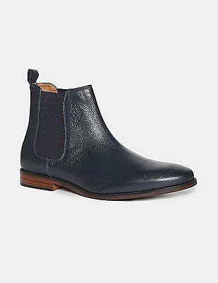 U.S. Polo Assn. Blue Textured Leather Chelsea Boots