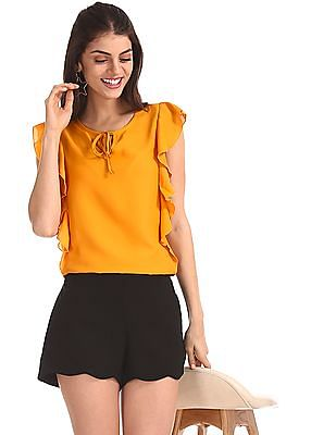 SUGR Yellow Flutter Sleeve Woven Top