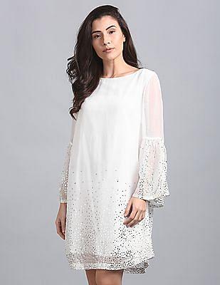 GAP Bell Sleeves Glitter Print A-Line Dress
