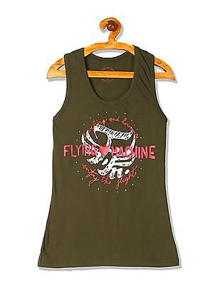 Flying Machine Women Round Neck Graphic Tank Top