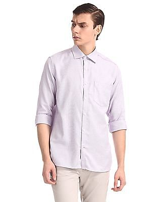 Excalibur Purple Mitered Cuff Patterned Shirt