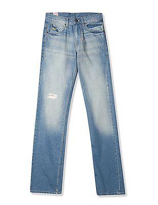 Buy Men Bruce Regular Straight Fit Whiskered Jeans online at