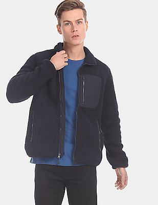 GAP Men Blue Fleece Zip-Up Jacket