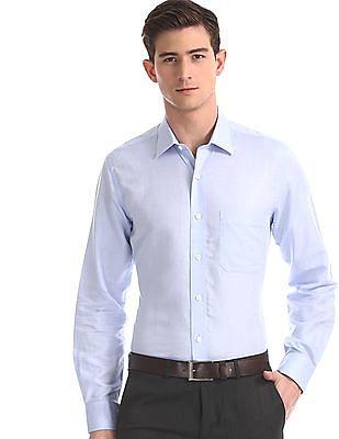 Arrow Blue French Placket Cotton Linen Shirt
