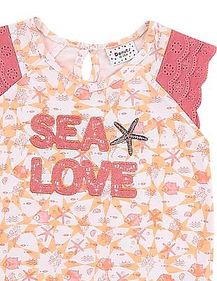 Donuts Girls Lace Sleeve Printed Top