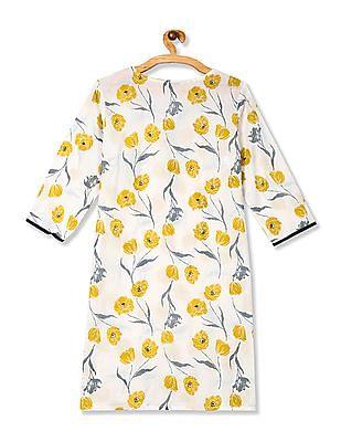 Karigari White Floral Print Cotton Kurta
