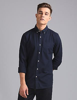 GAP Men Blue Oxford Shirt In Stretch
