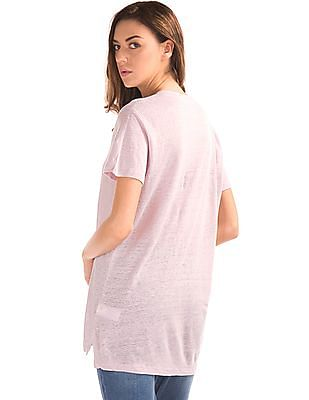 GAP Women Pink Linen V-Neck Tee