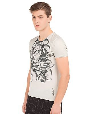 Ed Hardy Skull Print Raw Hem T-Shirt