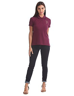 U.S. Polo Assn. Women Standard Fit Printed Polo Shirt