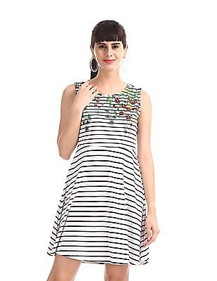 SUGR White Striped Fit And Flare Dress