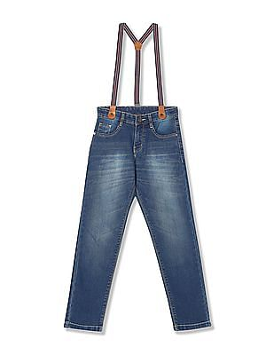 Cherokee Boys Stone Wash Jeans with Suspenders