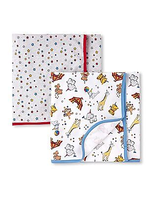 The Children's Place Baby Boys Circus Party Swaddle Blanket 2-Pack